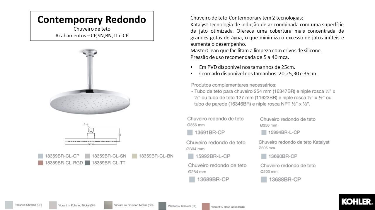 Chuveiro Contemporary Redondo - Kohler - TerraTile