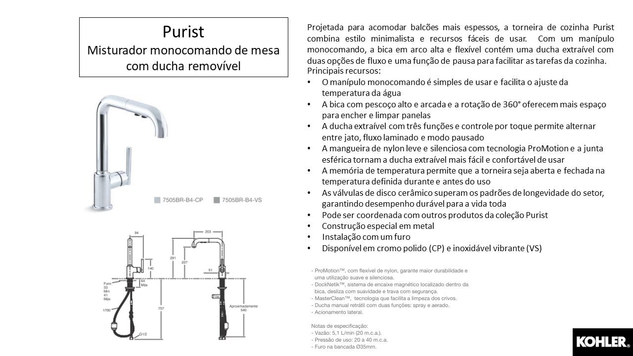 Misturador monocomando Purist